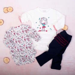 K-Baby 3 dílná sada - 2x body dl. rukáv,legíny, Děvčátko a podzim - bílá, granát