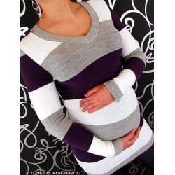 Těhotenská tunika PRUH - fialová