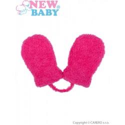 Dětské zimní rukavičky New Baby se šňůrkou růžové