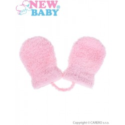 Dětské zimní rukavičky New Baby se šňůrkou světle růžové