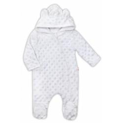 Baby Nellys Kombinézka/overálek MINKY s kapucí a oušky - bílá