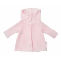 Baby Nellys Kojenecký svetřík s kapucí, áčkový střih - růžový