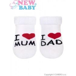 Kojenecké froté ponožky New Baby bílé I Love Mum and Dad, Bílá, 56 (0-3m)