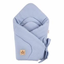 Baby Nellys Kojenecká zavinovačka, mušelinová na stuhu, 70x70cm, sv. modrá