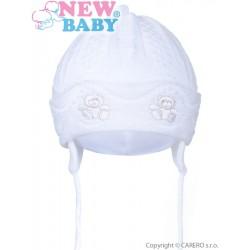 Pletená dětská čepička New Baby medvídci bílá, Bílá, 80 (9-12m)