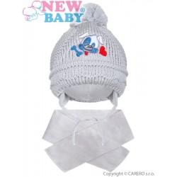 Zimní dětská čepička se šálou New Baby pejsek šedá, Šedá, 104 (3-4r)