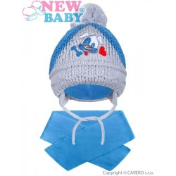 Zimní dětská čepička se šálou New Baby pejsek tmavě modrá, Modrá, 104 (3-4r)