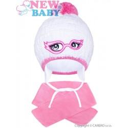 Zimní dětská pletená čepička se šálou New Baby růžová, Růžová, 104 (3-4r)
