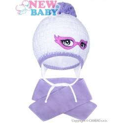 Zimní dětská pletená čepička se šálou New Baby fialová, Fialová, 104 (3-4r)