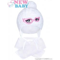 Zimní dětská pletená čepička se šálou New Baby bílá, Bílá, 104 (3-4r)