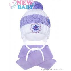 Zimní dětská čepička se šálou New Baby květinky fialová, Fialová, 104 (3-4r)