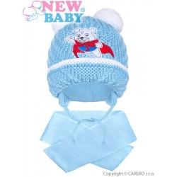 Zimní dětská čepička se šálou New Baby medvídek J světle modrá, Modrá, 104 (3-4r)