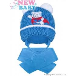 Zimní dětská čepička se šálou New Baby medvídek J tmavě modrá, Modrá, 104 (3-4r)