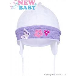 Pletená dětská čepička New Baby bílo-fialová, Fialová, 80 (9-12m)
