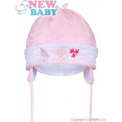Pletená dětská čepička New Baby světle růžová, Růžová, 80 (9-12m)