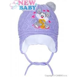 Zimní dětská čepička New Baby myška fialová, Fialová, 74 (6-9m)