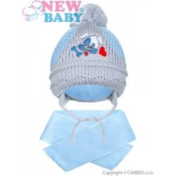 Zimní dětská čepička se šálou New Baby pejsek světle modrá, Modrá, 104 (3-4r)