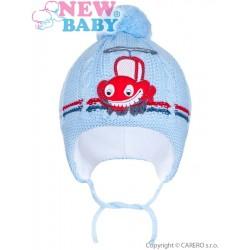 Zimní dětská čepička New Baby autíčko světle modrá, Modrá, 86 (12-18m)