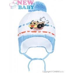 Zimní dětská čepička New Baby auto světle modrá, Modrá, 80 (9-12m)