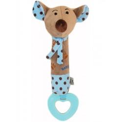 Dětská pískací plyšová hračka s kousátkem Baby Mix myška modrá, Modrá