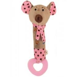 Dětská pískací plyšová hračka s kousátkem Baby Mix myška růžová, Růžová