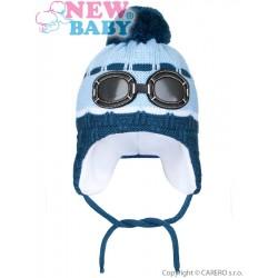 Zimní dětská čepička New Baby brýle světle modrá, Modrá, 104 (3-4r)