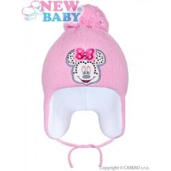 Zimní dětská čepička New Baby Minnie tmavě růžová, Růžová, 104 (3-4r)