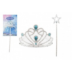 Sada krásy pro princezny plast korunka + hůlka 34cm na kartě