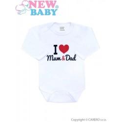 Body s potiskem New Baby I Love Mum and Dad, Červená, 50