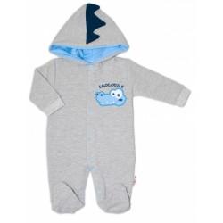 Baby Nellys Teplákový overal Crocodiles - šedá, modrá