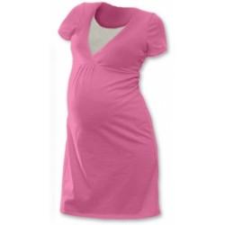 Těhotenská, kojící noční košile JOHANKA krátký rukáv - růžová