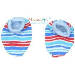 Botičky/ponožtičky BAVLNA Mamatti - ZEBRA - sv. modré/barevné proužky