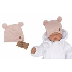 Z&amp,Z Dvouvrstvá bavlněná čepička LOVE TEDDY, sv. růžová