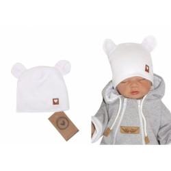 Z&amp,Z Dvouvrstvá bavlněná čepička LOVE TEDDY, bílá