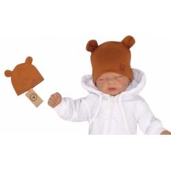Z&amp,Z Dvouvrstvá bavlněná čepička LOVE TEDDY, medová hořčice