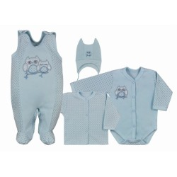 Koala Baby 4 dílná bavlněná soupravička do porodnice Sovička - modrá