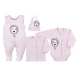 Koala Baby 4-dílná bavlněná soupravička do porodnice Simba - růžová