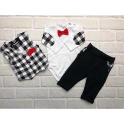 G-baby 3-dílný Bavlněný komplet Elegant Boy, bílo/černé kárko
