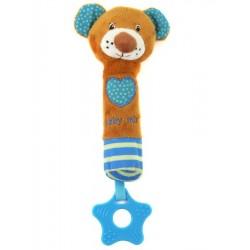 Dětská pískací plyšová hračka s kousátkem Baby Mix medvídek modrý, Dle obrázku