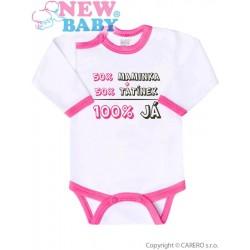 Body s potiskem New Baby 50% MAMINKA + 50% TATÍNEK - 100% JÁ růžové, Růžová, 80 (9-12m)