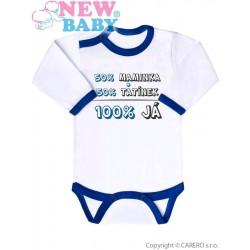 Body s potiskem New Baby 50% MAMINKA + 50% TATÍNEK - 100% JÁ modré, Modrá, 86 (12-18m)