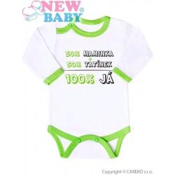 Body s potiskem New Baby 50% MAMINKA + 50% TATÍNEK - 100% JÁ zelené, Zelená, 74 (6-9m)
