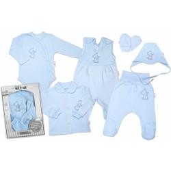 Baby Nellys Velká sada do porodnice TEDDY, 6-ti dílná v krabičce, modrá