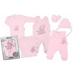 Baby Nellys Velká sada do porodnice CUTE BUNNY, 6-ti dílná v krabiččce - růžová