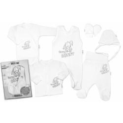 Baby Nellys Velká sada do porodnice CUTE BUNNY, 6-ti dílná v krabiččce - bílá