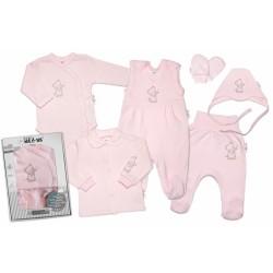 Baby Nellys Velká sada do porodnice TEDDY, 6-ti dílná v krabičce, růžová