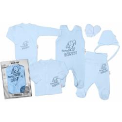 Baby Nellys Velká sada do porodnice CUTE BUNNY, 6-ti dílná v krabiččce - modrá