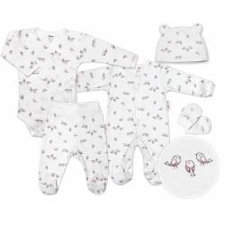 Baby Nellys 5-dílná soupravička do porodnice Ptáčci - ecru/růžová