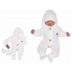 Z&Z Dětský pletený overálek s kapucí + botičky, bílý