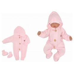 Z&Z Dětský pletený overálek s kapucí + botičky, růžový